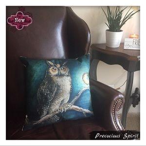 Other - Moon owl linen blend pillowcase pillow cover